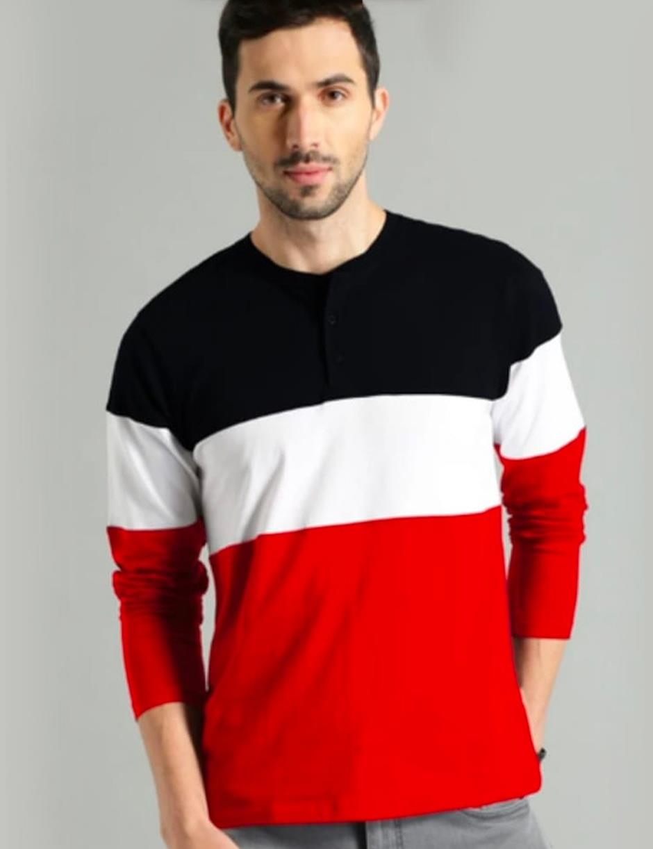 RED WHITE BLACK FULL SLEEVES PANEL TSHIRT