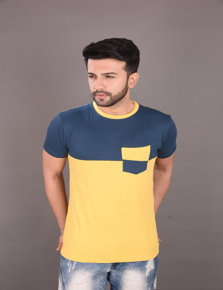 YELLOW DSB PANEL POCKET MENS TSHIRT