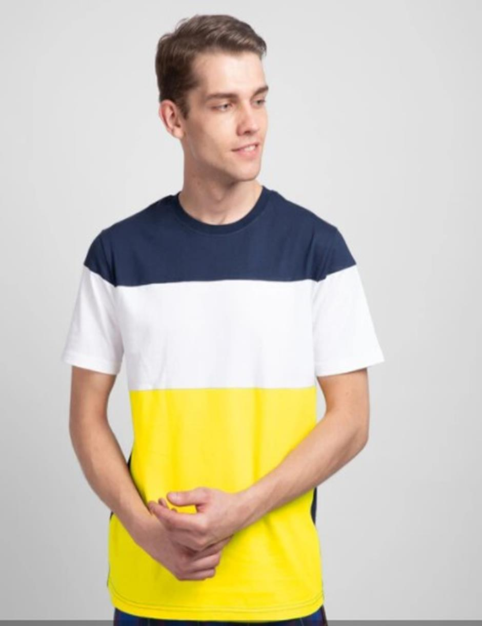 NAVY WHITE YELLOW PANEL HALF