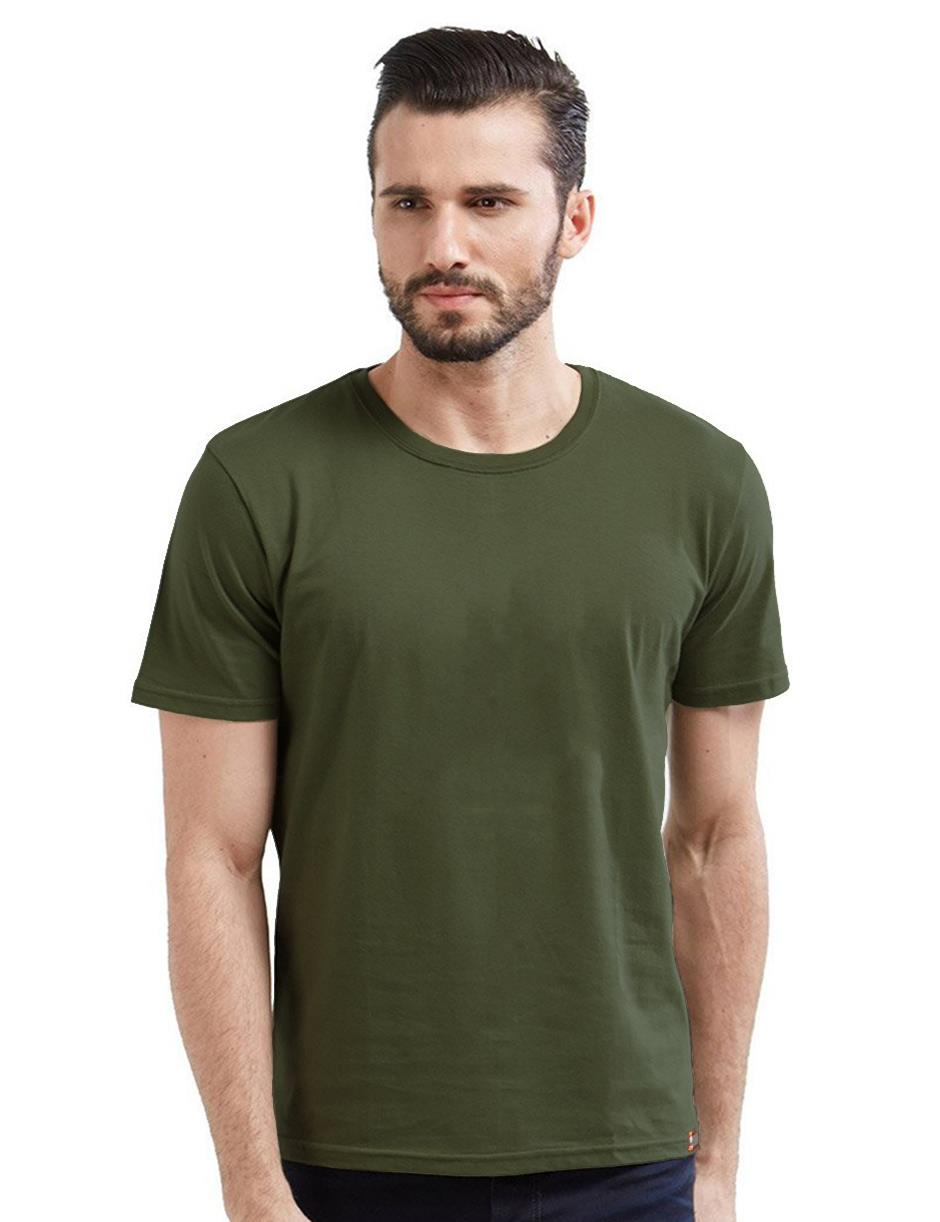Olive Green Plain Men T-Shirt