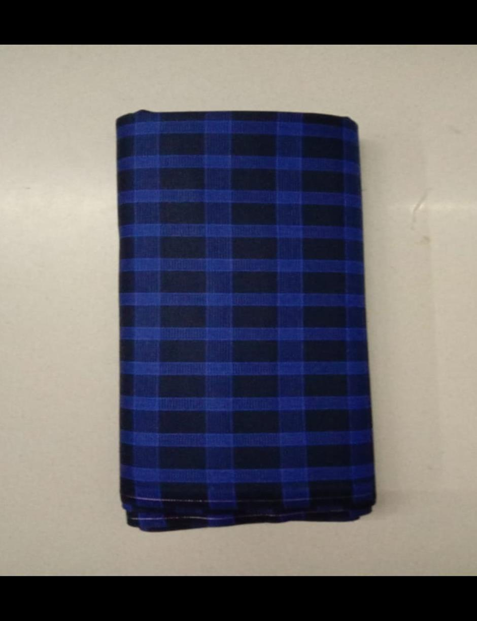 Navy Blue Broad Checks Suitlength