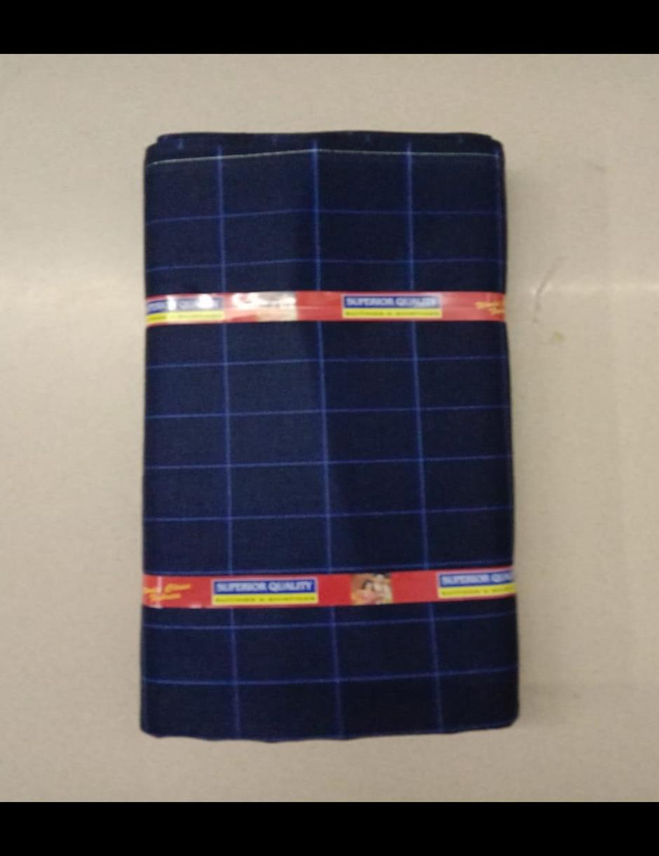 Navy Blue Thin Checks Suitlength